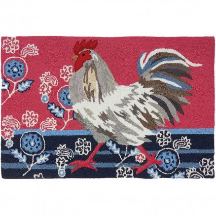 "22""x34"" Patriotic Rooster Hand Hooked Accent Rug"