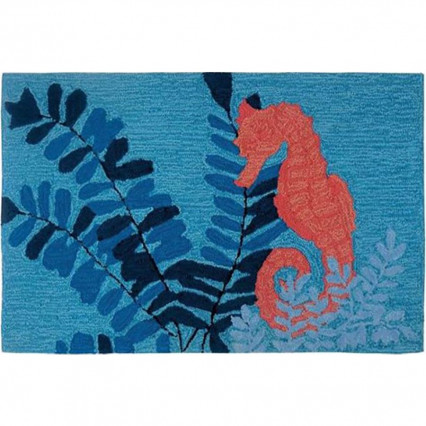 "22""x34"" Serene Sea Horse Hand Hooked Accent Rug"