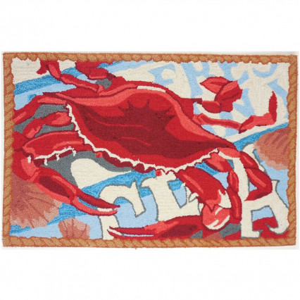 "22""x34"" Fresh Catch Crab Hand Hooked Accent Rug"