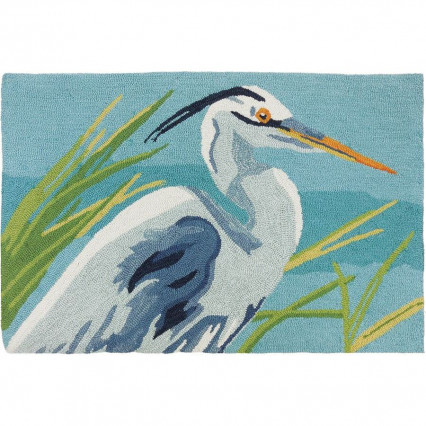 "22""x34"" Blue Heron Hand Hooked Accent Rug"