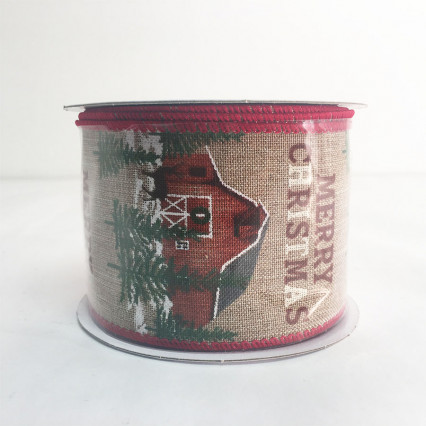 "2.5"" x 10Y Merry Christmas Red Barn Ribbon"