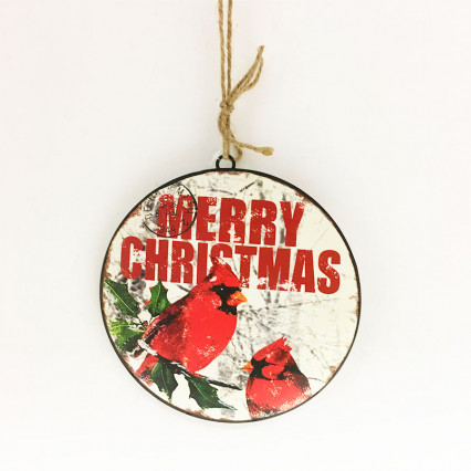 "8"" Metal Cardinal Christmas Ornament"