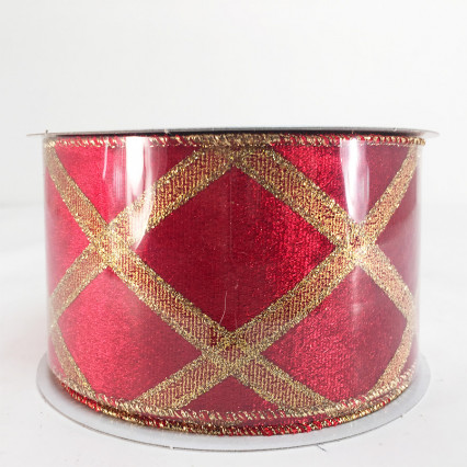 "2.5"" x 10Y Red and Gold Pattern Ribbon"