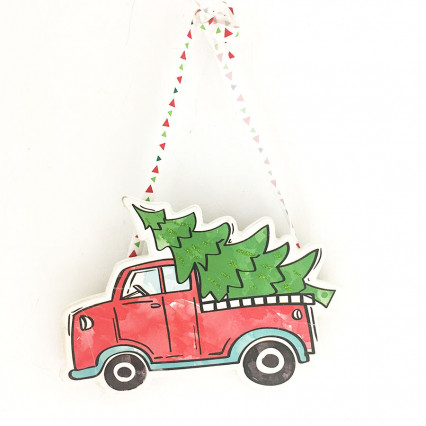 "8"" Red Truck with Christmas Tree Ornament"