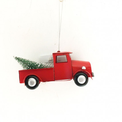 "8"" Metal Vintage Red Truck with Christmas Tree Ornament"