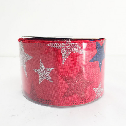 "2.5"" x 10Y Red Glitter Star Pattern Ribbon"