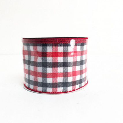 "2.5"" x 10yd Red, White, Blue Chex Ribbon"
