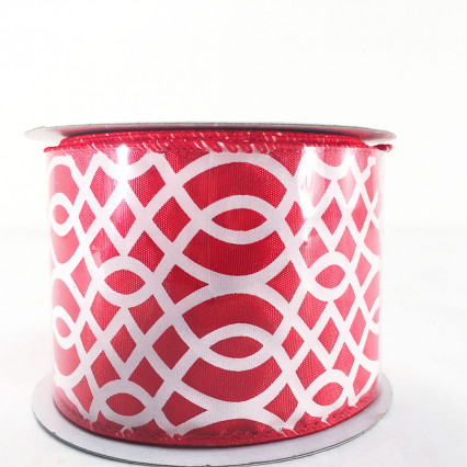 "Jascotina 2.5"" x 10Y Red and White Decorative Ribbon"