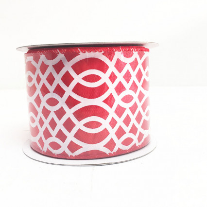 "2.5"" x 10Y Red and White Decorative Pattern Ribbon"
