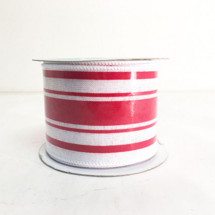 2.5 x 10Y Red and White Stripe Ribbon