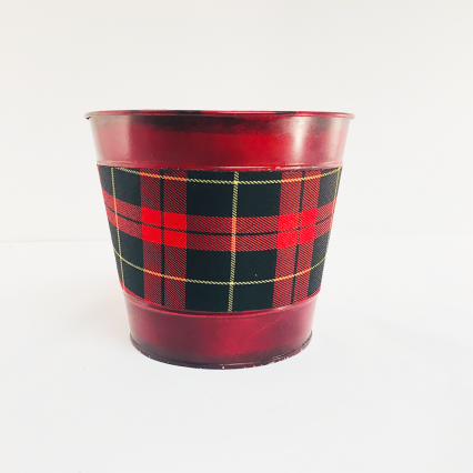 Napco 50446R Red and Flannel Metal Flower Pot