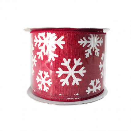 "Red Ribbon with White Snowflakes 2.5"" x 10yd 