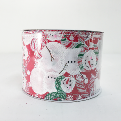 Jascotina XR454876RDWH 2.5x10yd Red Snowmen Satin Wired Ribbon