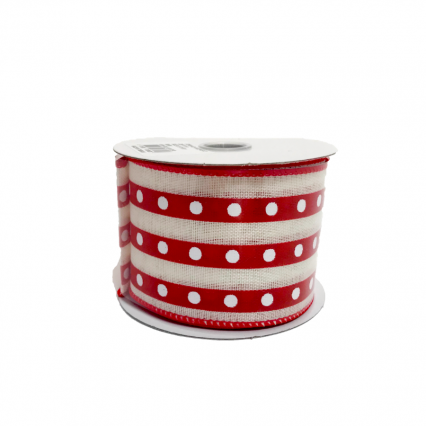Red Stripe White Dot Ribbon