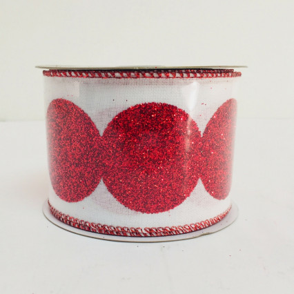 Direct Export Red & White Linen Glitter Ribbon