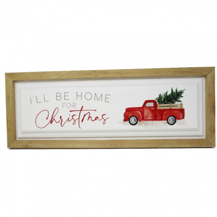 I'll Be Home for Christmas Red Vintage Truck PGD Wooden Sign