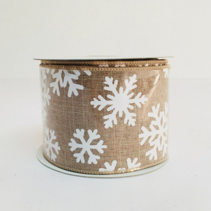 "Natural Ribbon with White Snowflakes 2.5"" x 10yd 