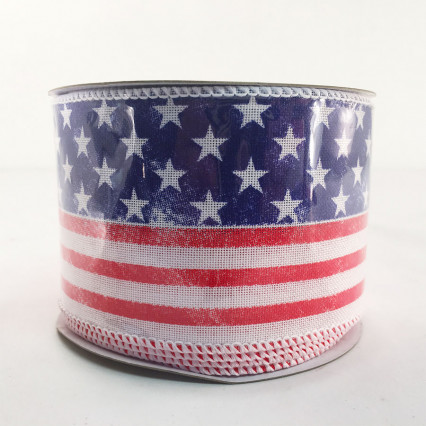 "Direct Export 254987 2.5"" x 10YD Star Stripe Linen Ribbon"