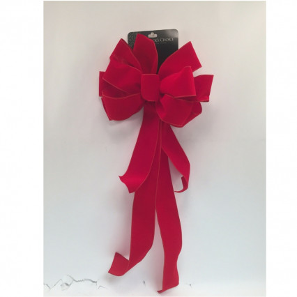 St. Nick's Choice Velvet Deluxe Streamers Wired Christmas Bow