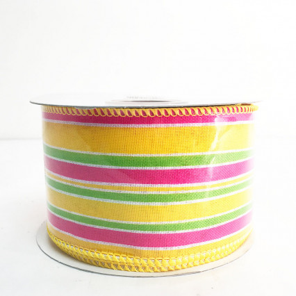 "2.5"" x 10Y Stripe Bright Linen Lines Ribbon"