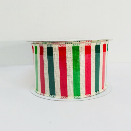 "Holiday Stripe Hopsack Wire Edged 2.5""x 10yd 