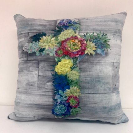 Succulent Cross Indoor Pillow