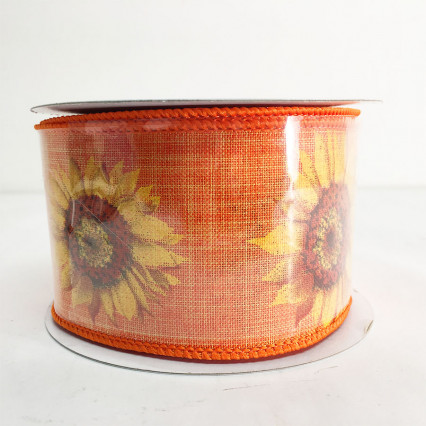 "2.5"" x 10Y Sunflower Linen Wired Edge Ribbon"