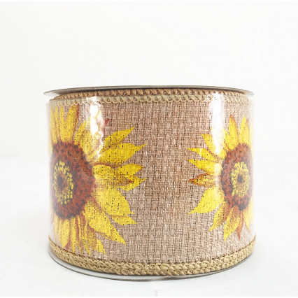"Direct Export 2.5"" x 10Y Natural Linen Sunflowers"