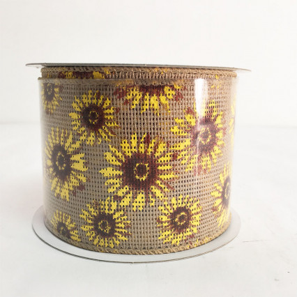 "2.5"" x 10YD Natural Sunflower Ribbon"