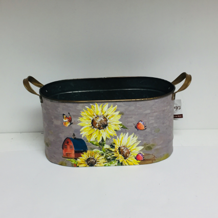 Sunflower Metal Container