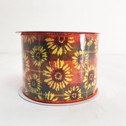 "2.5"" x 10YD Sunflowers with Orange Pattern Ribbon"