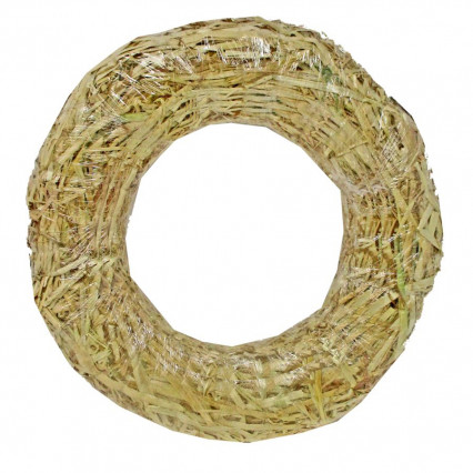 Straw Wreath Clear Wrapped - 12""