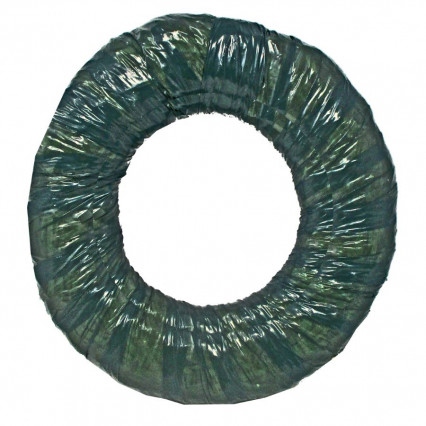 Straw Wreath Green Wrapped - 12""