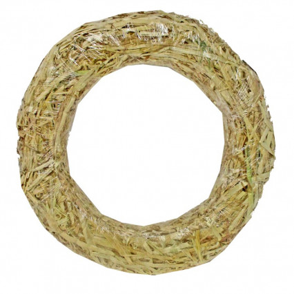 Straw Wreath Clear Wrapped - 16""