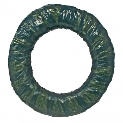 Straw Wreath Green Wrapped - 16""