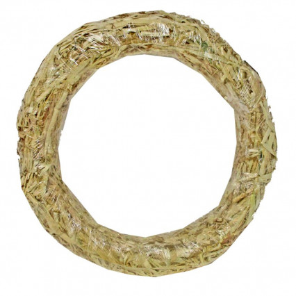 Straw Wreath Clear Wrapped - 24""