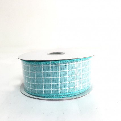 "1.5"" x 10Y Teal and White Pattern Ribbon"