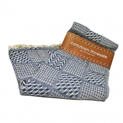 Common Threads Cotton Throw Blanket Blue Weave