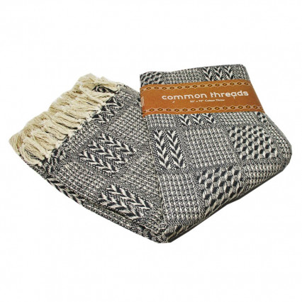 Common Threads Cotton Throw Blanket Gray Weave