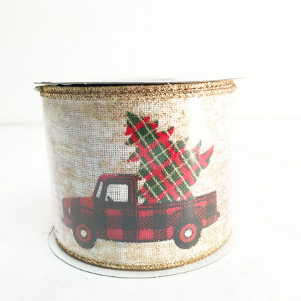 "2.5"" x 10Y Tree in Truck Glitter Ribbon"