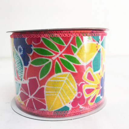 "2.5"" x 10Y Tropical Floral Ribbon"