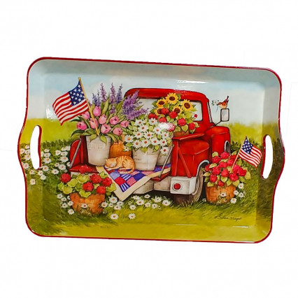 Truck & Flower Serving Tray