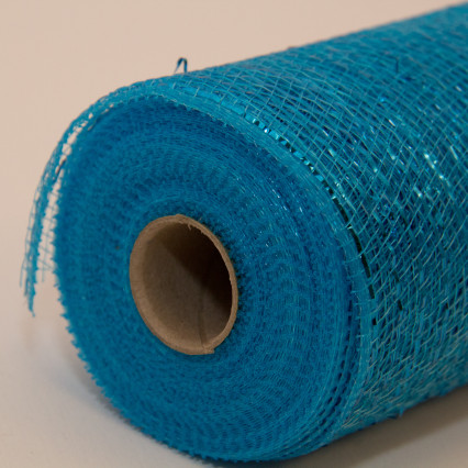 10 in. Metallic Turquoise Deco Mesh Ribbon