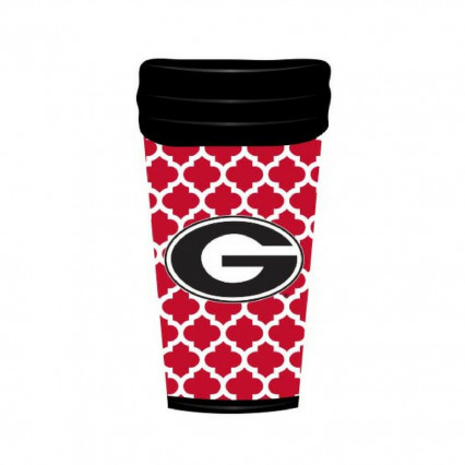 Georgia Bulldogs 18oz Travel Mug Quatrefoil