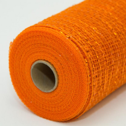 21 in. Metallic Orange Deco Mesh Ribbon