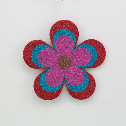 Glitter Flower Ornament - Red & Pink