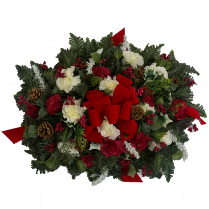 Cemetery Saddle - Poinsettias & Carnations