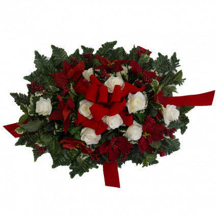 Cemetery Saddle - Poinsettias & Roses