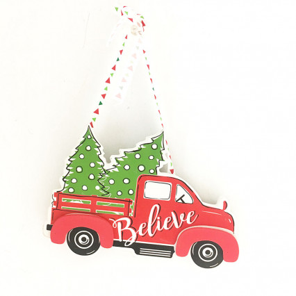 "8"" Vintage Truck with Christmas Tree Ornament"