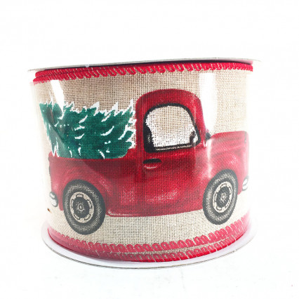 "2.5"" x 10Y Vintage Truck and Christmas Tree Ribbon"